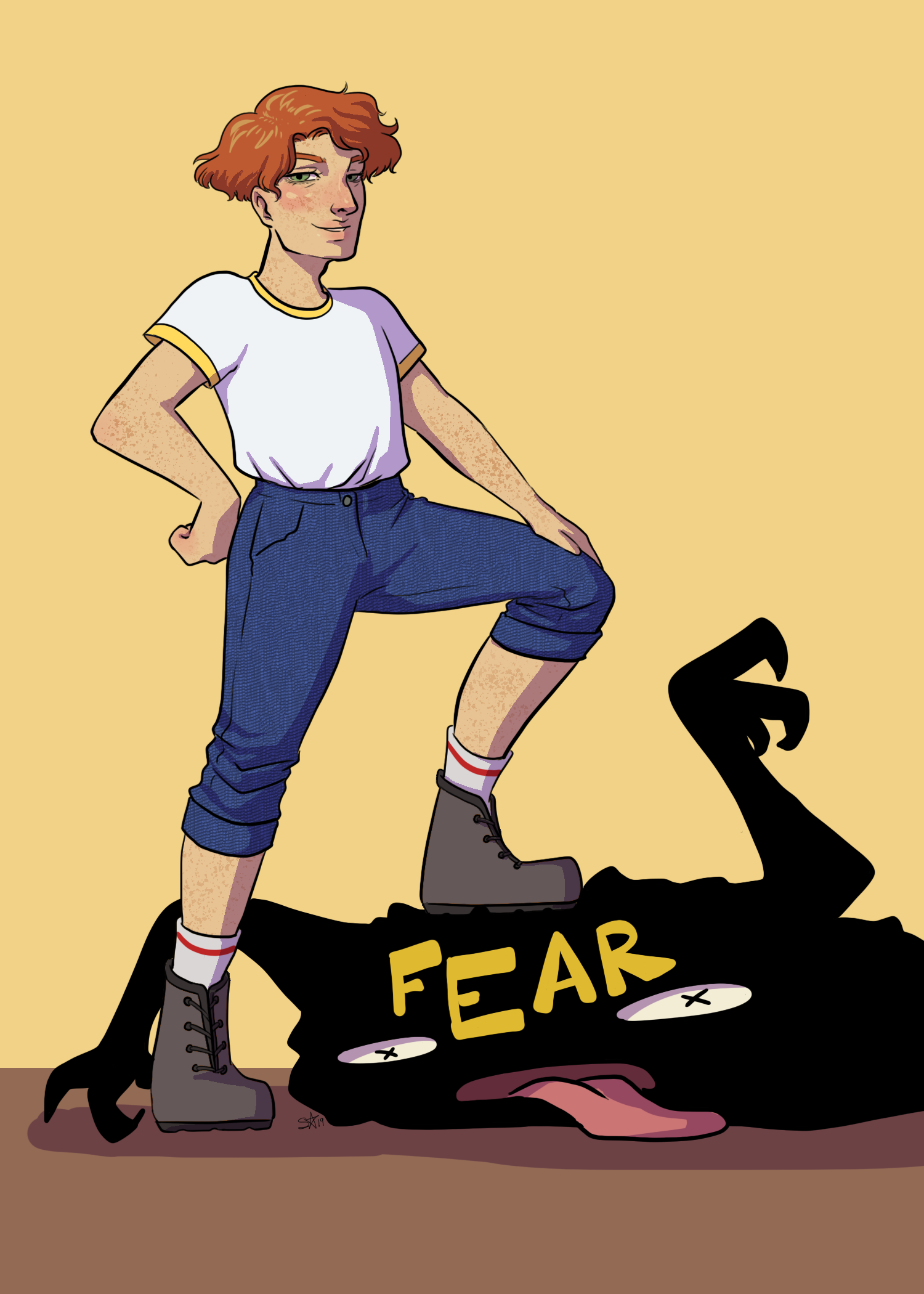 "A female figure with her foot on a black object with a ""FEAR"" sign on it."