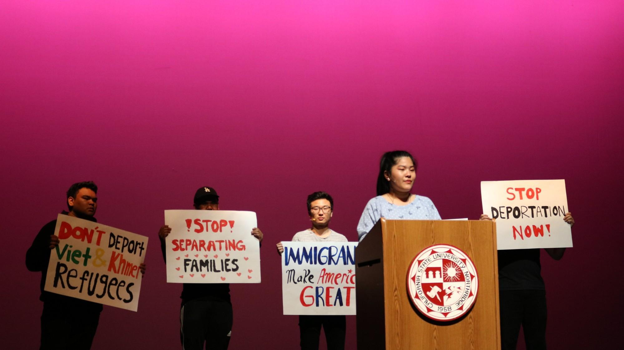 A female student giving speech