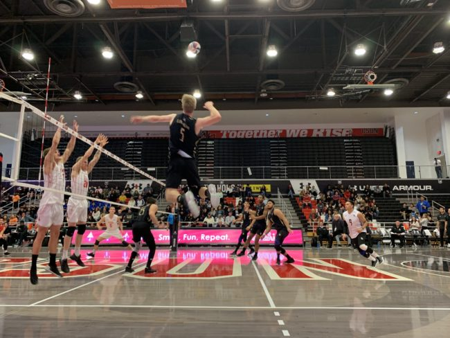 A Long Beach State Volleyball player trying to score