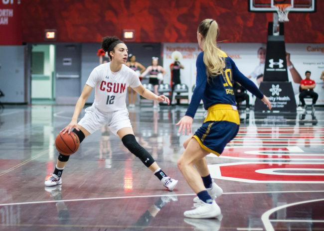 A CSUN Women's Basketball player trying to pass the ball to her teammate