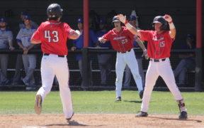 CSUN Baseball scores a point during a game