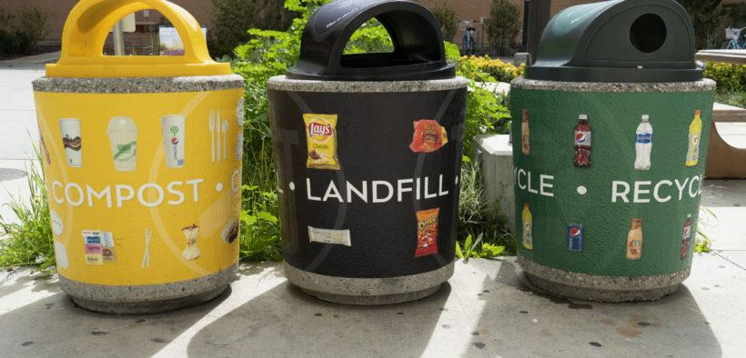 three different types of trash cans