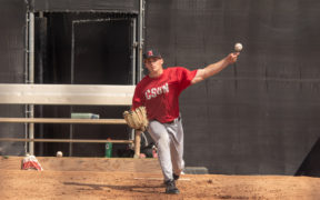 A CSUn Baseball pitcher practices at bullpen