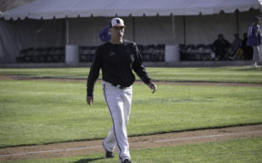 The CSUN Baseball head coach walking on field