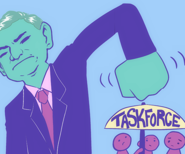 A illustration portraying taskforce is being pressured.