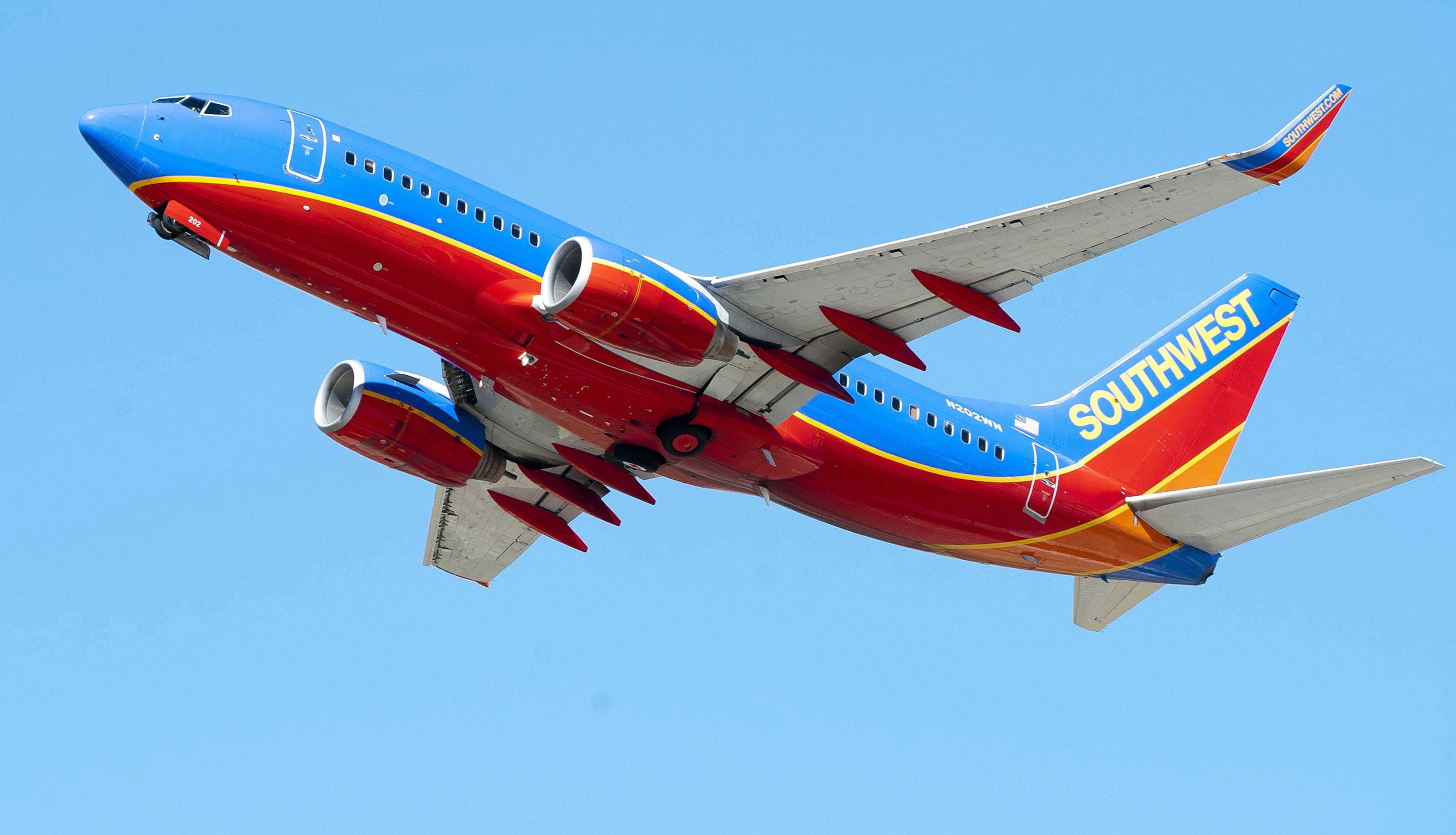 A Southwest Airlines Boeing 737 takes off at Los Angeles International Airport in 2015. Southwest Airlines reported a second quarter profit of $746 million on Thursday. (David Bro/Zuma Press/TNS)