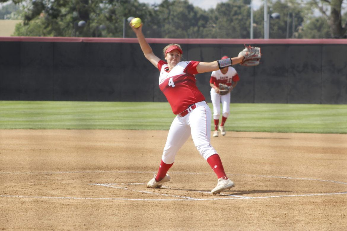CSUN Softball player in red and white jersey
