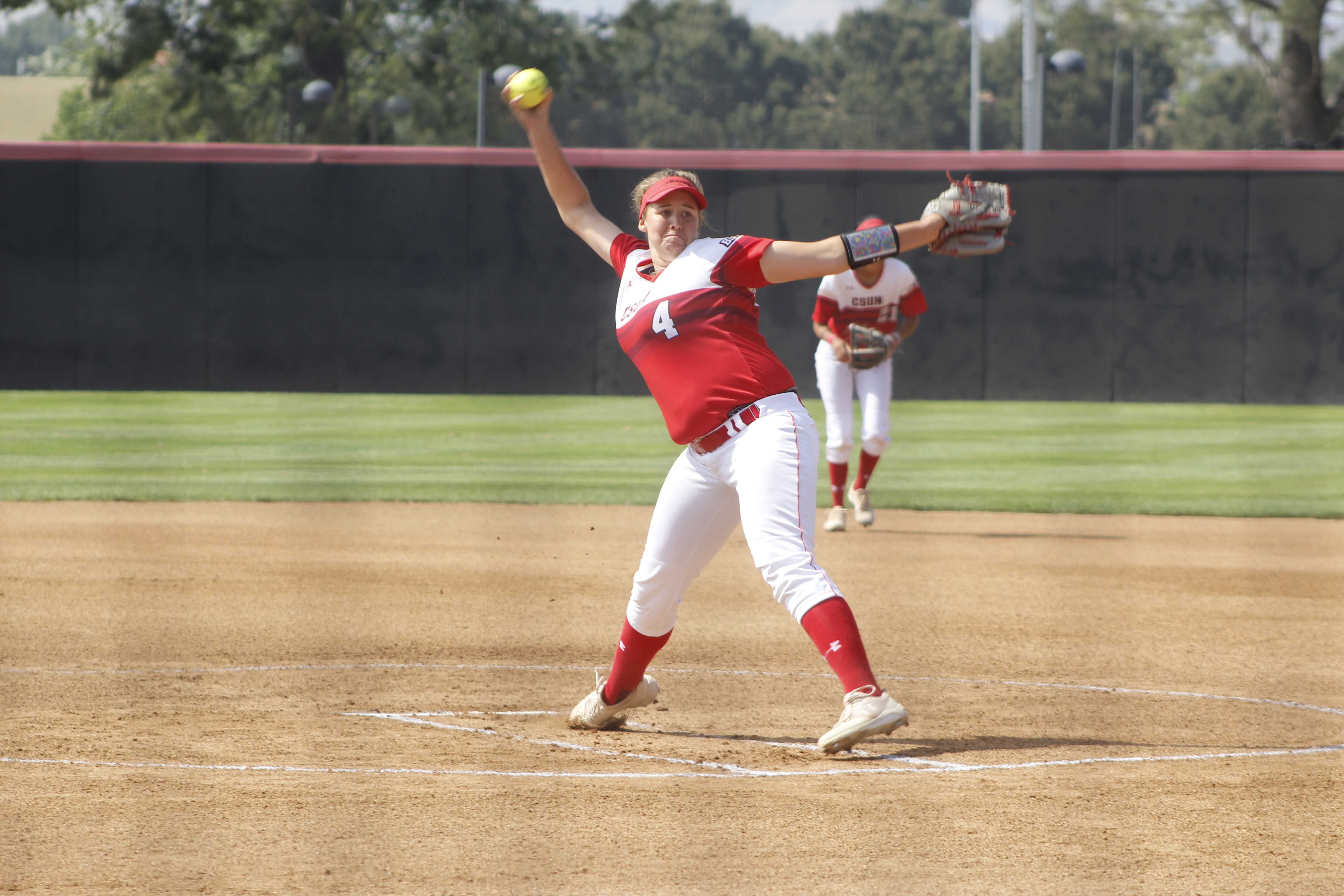 Senior Taylor Troost pitching her final game at Matador Diamond on May 4. She pitched four innings and gave up three hits, two runs, and two walks. Photo credit: Elijah Carr
