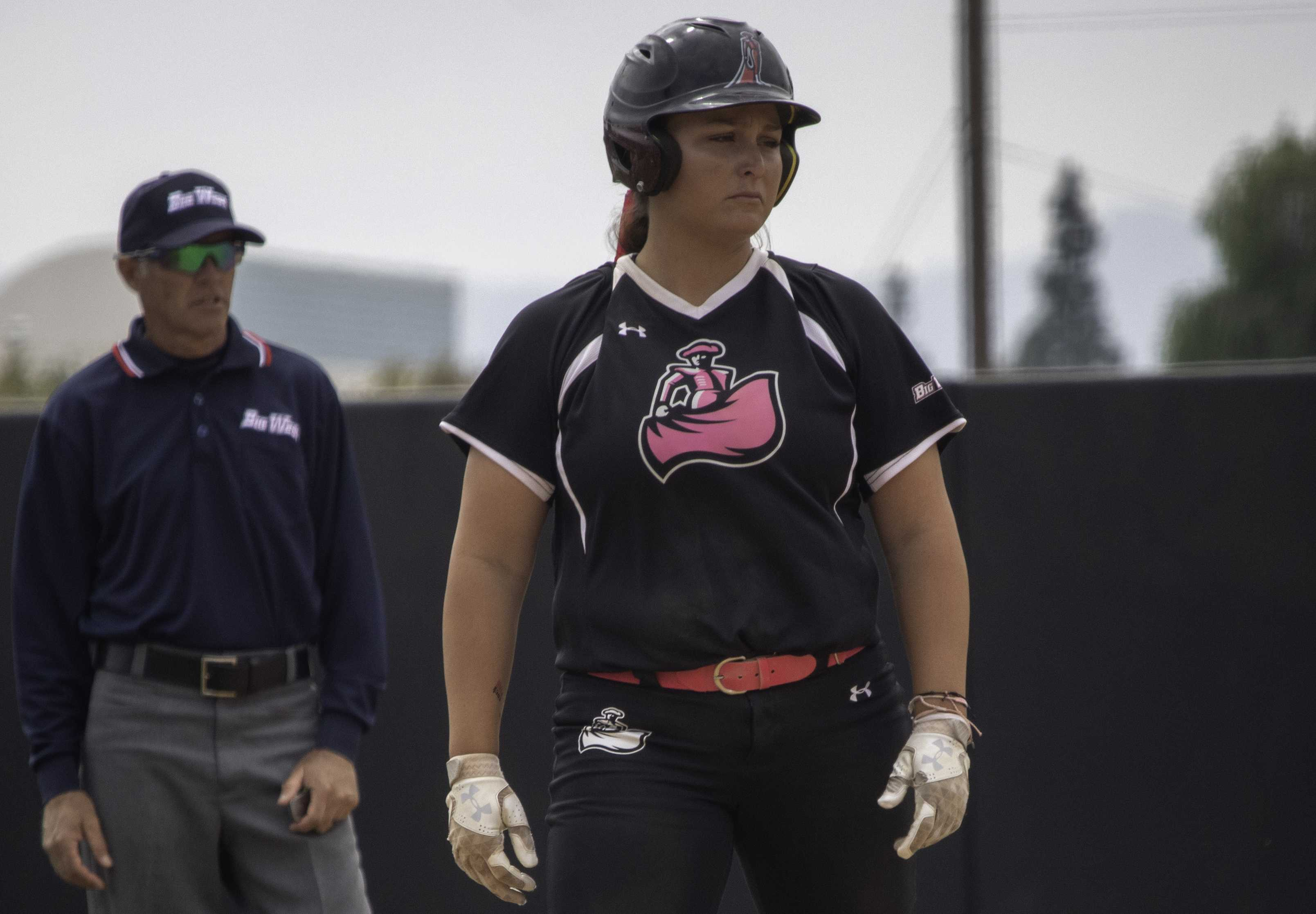 Junior Megan Stevens stands at third base during the Matadors' 5-3 win over Cal Poly at Matador Diamond on April 20. Stevens broke the record for doubles in a season by a CSUN player with her 18th in her team's 10-2 victory over UC Santa Barbara on April 27. Photo credit: Tyler Wainfeld