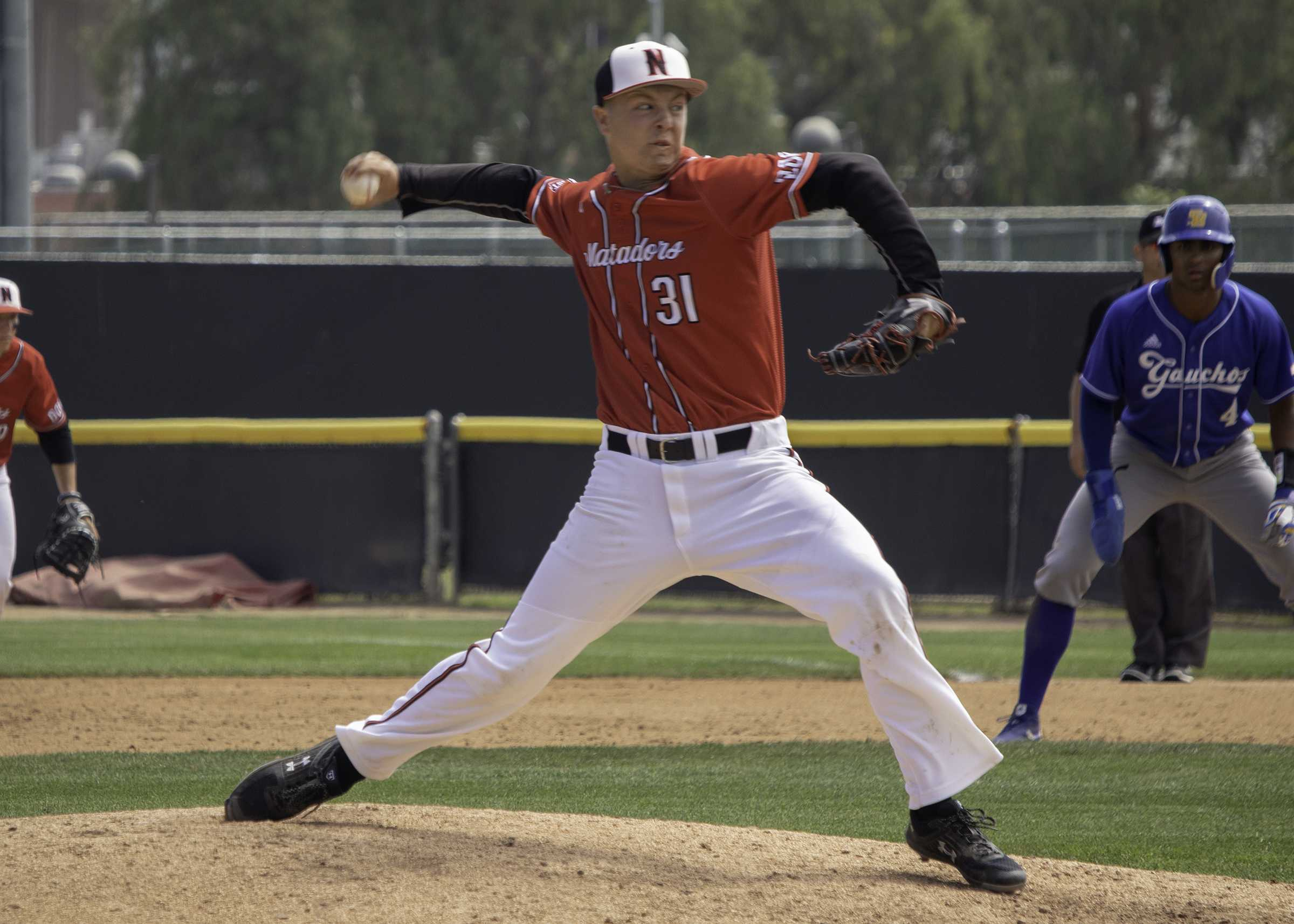 Sophomore Blake Schriever in the fifth inning of the Matadors' loss to UC Santa Barbara on Sunday. Schriever entered the game with one out in the fifth inning and held the Gauchos to just one run over 3 2/3 before losing the game in the ninth. Photo credit: Tyler Wainfeld