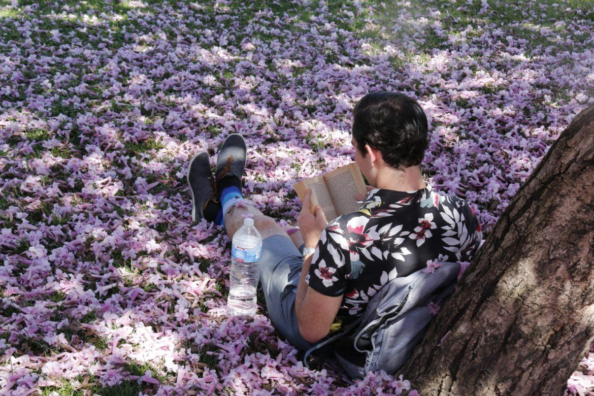 Student reading in flowers