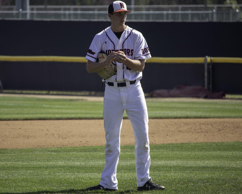 CSUN baseball player in white jersey