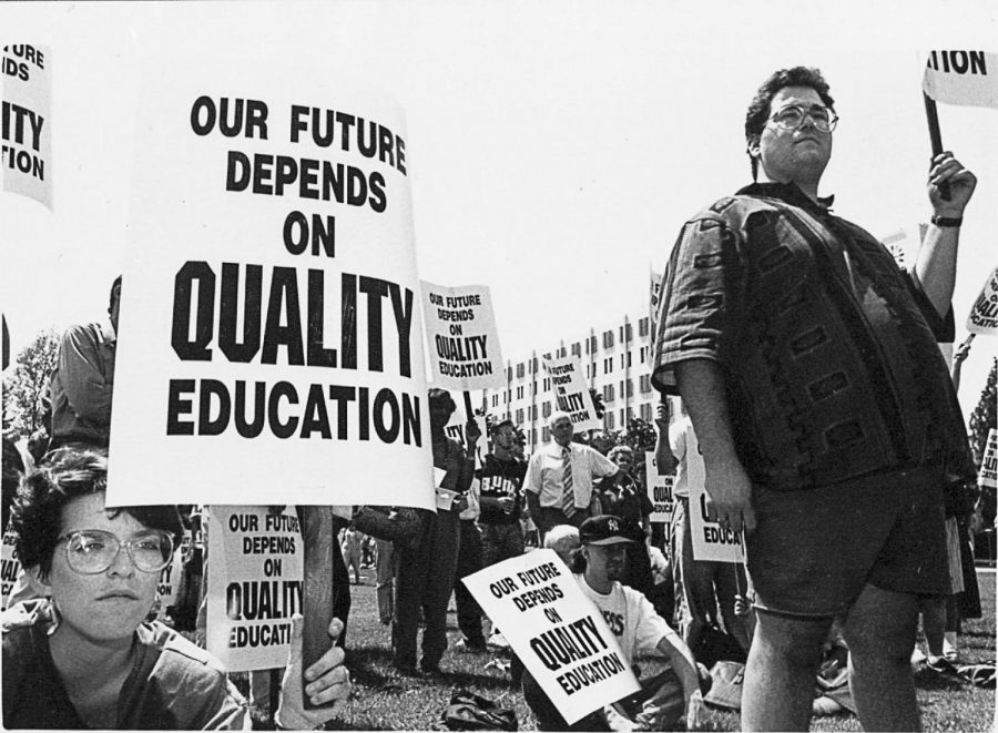 A campus protest for quality education