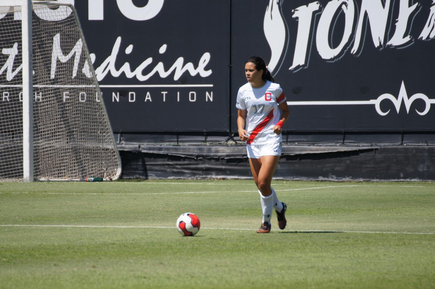 Senior defender Amanda Martin bringing the ball up against Eastern Washington on Sept. 8. Martin scored the only goal of the game against San Diego on Sunday. Photo credit: Bryanna Winner