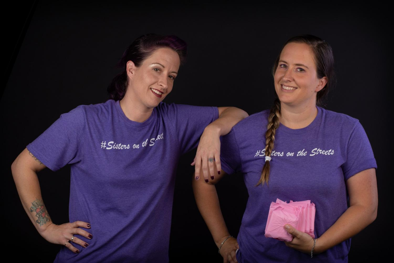 Twin sisters Laura and Alycia Rathbone pose for studio portraits in Manzanita Hall. Photo credit: Joshua Pacheco