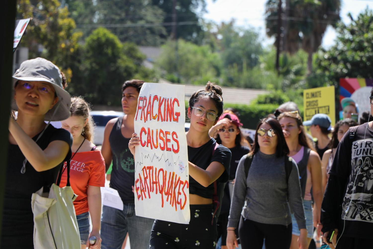 Students, professors and community members march side by side, united by the fear of the catastrophic effects of climate change. Photo credit: Elaine Sanders