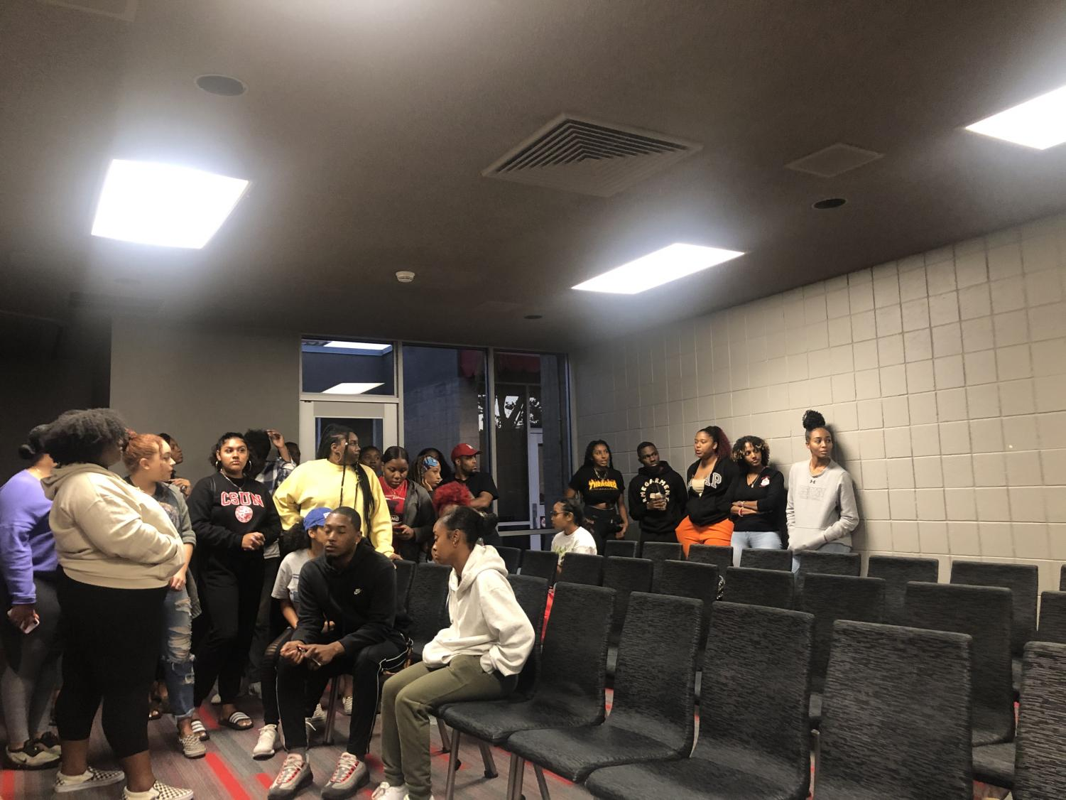 Students gather at a panel for We Matter Week hosted by the Black Leadership Council.