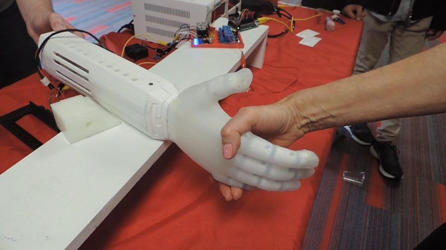 A handshake with a robotic arm