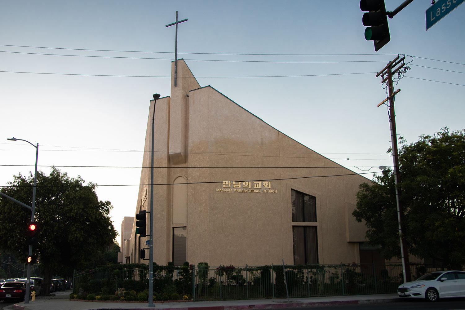Mannam Presbyterian Church was built in 1999 under Pastor Yong-Hwan Cho on the corner or Lassen Street and Lindley Avenue. It offers sermons in Korean and ministries in both Korean and English. Photo credit: Elaine Sanders