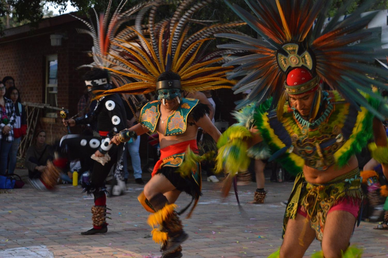 Danza Cuatemo dancers perform a dance in celebration of mother earth at the Chicano house, for Indigenous People's Day on October 14th 2019 Photo credit: Geovanni Botticella