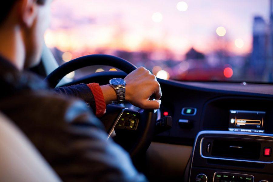 A driver in a car