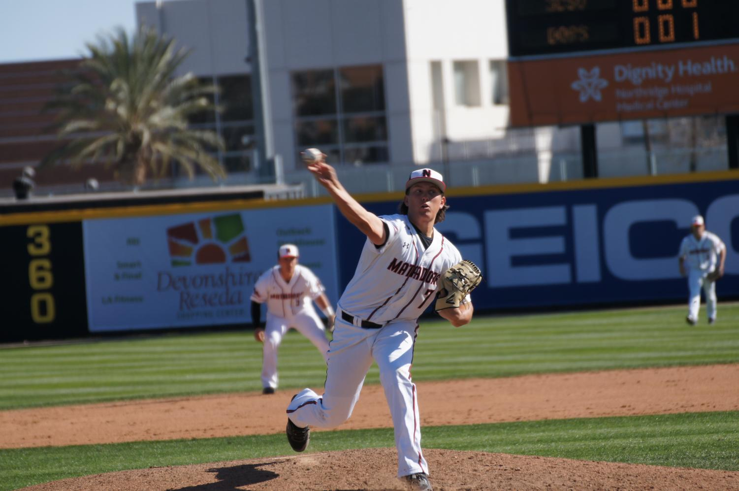 Sophomore Blake Sodersten pitching against San Diego State at Matador Field on March 12, 2019.