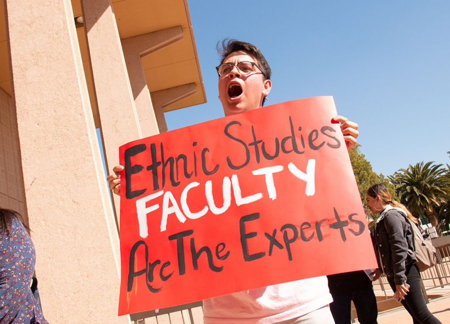 Fernando Lopez Gonzalez, 20, participates in the rally to keep ethnic studies classes on CSUN's campus.