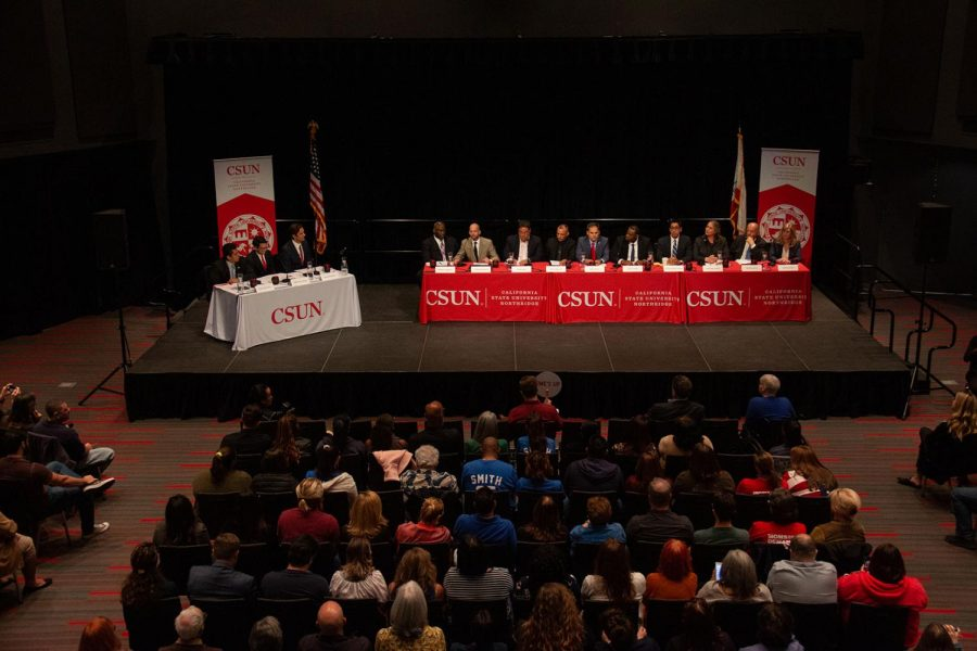 Political candidates and citizens fill the USU Northridge Center for the District 25 candidate forum on Feb. 21.