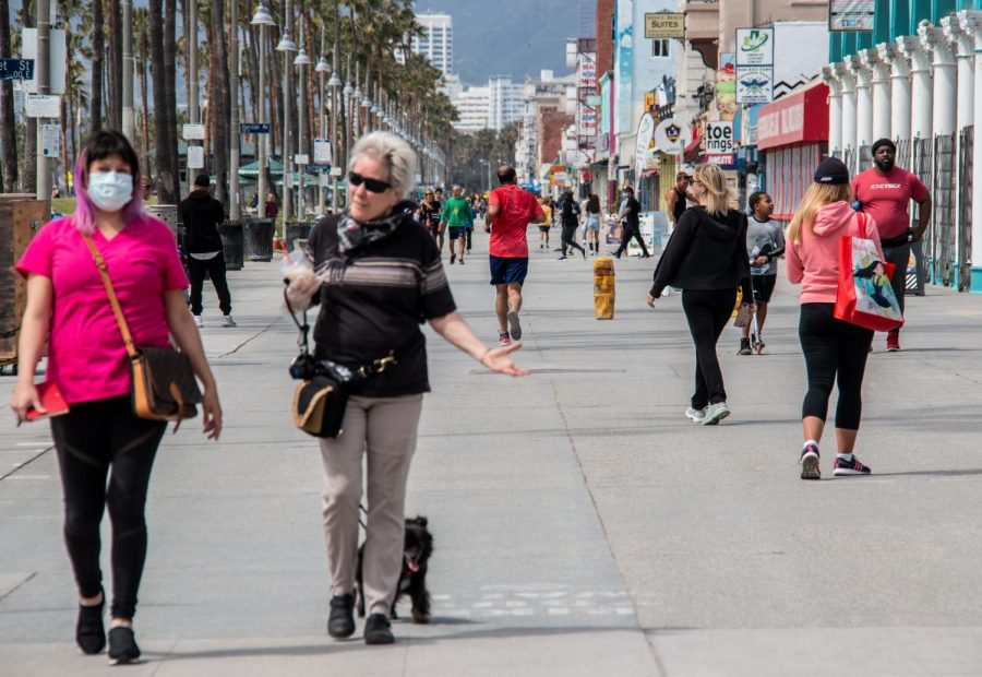 Venice Beach boardwalk on March 28, the first day of beach closures.