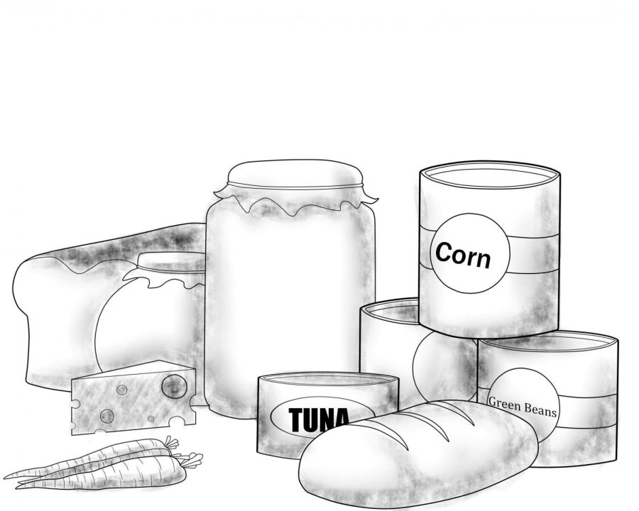 A+drawing+of+canned+food+and+other+groceries