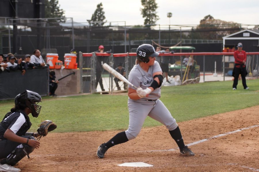 Senior+Megan+Stevens+swings+the+bat+on+March+9+against+University+Central+Florida.+Stevens+went+1-for-2+at+the+plate%2C+getting+one+of+only+two+hits+by+the+Matadors+in+the+home+opener.