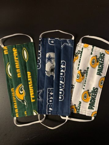 Face masks with NFL teams.