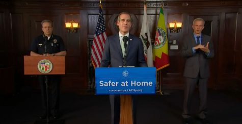 Screenshot from LA Mayor Eric Garcetti's livestream via Facebook.