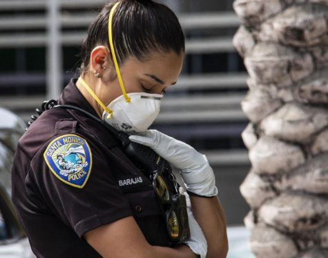 A Santa Monica police officer wears protective gear on March 28.