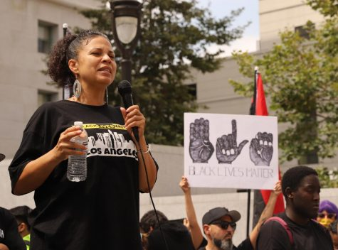 Black Lives Matter L.A. co-founder Melina Abdullah addresses the crowd at the #JackieLaceyMustGo protest outside the Hall of Justice in downtown Los Angeles on June 17, 2020.