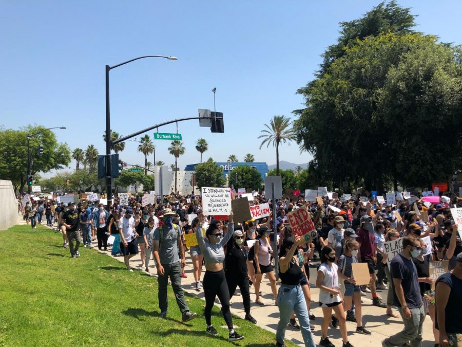 Over 1,400 protesters took to the streets of Burbank on Thursday.