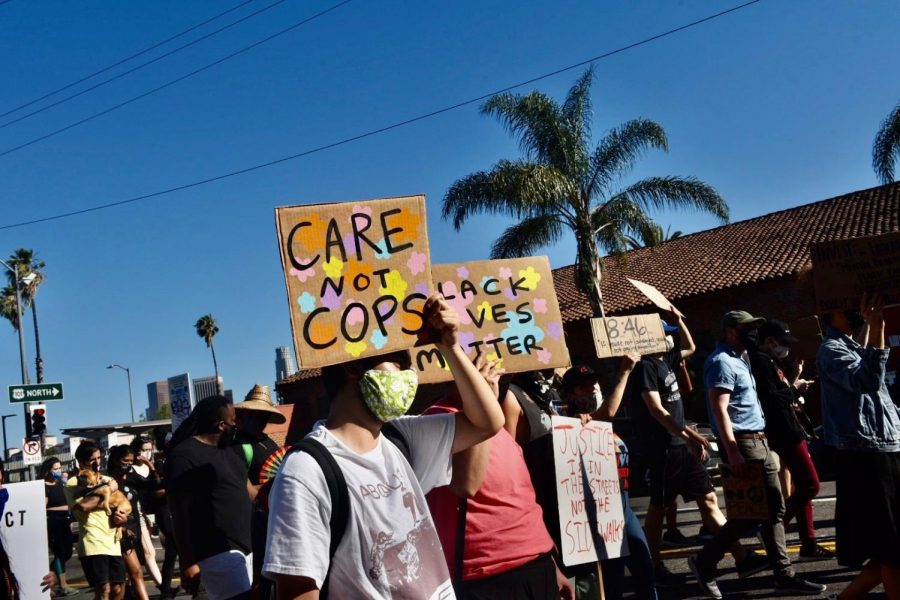Demonstrators march to defund LAPD on June 13, 2020. (Samantha Bravo / The Sundial)