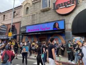 Protesters seeking justice for Breonna Taylor gather outside of  Laugh Factory in West Hollywood.