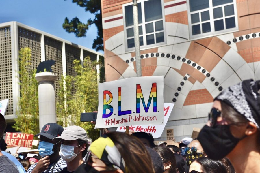 A+demonstrator+holds+a+sign+that+reads+%22BLM+%23MarshaPJohnson%22+during+the+June+4+protest+on+UCLA+campus.
