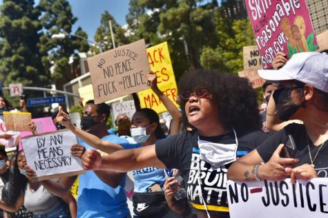 Demonstrators at UCLA protest on Thursday, June 4.