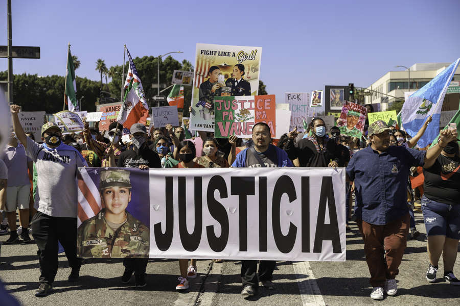 Protesters marching down Alameda Street in front of Union Station in Los Angeles, Calif. on Saturday, July 25, 2020.