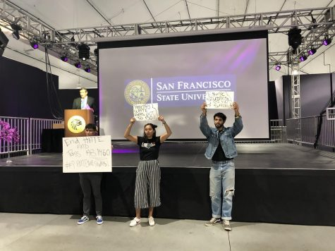 Students protest against CSU Chancellor Timothy White at the 50th Anniversary of Ethnic Studies at SFSU in 2019.