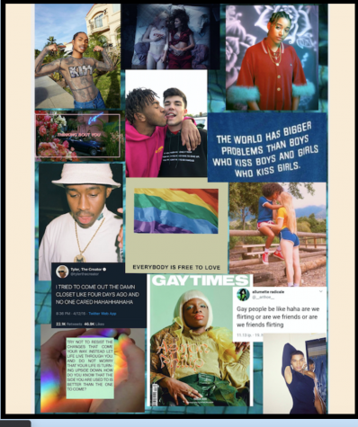 Zine pages put together by students in professor Matthew Clements' Pop culture Queer studies class, QS 204.