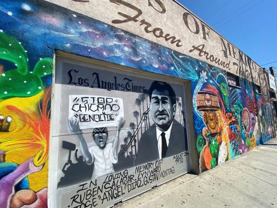 A mural of Ruben Salazar, an influential Latino journalist who covered the Chicano movement, a block away from the Ruben Salazar Park in East Los Angeles, Calif.