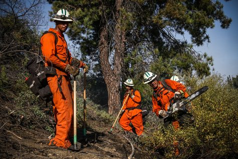A group of inmate firefighters clear a line to prevent further fire spread during the Amigo Fire in Porter Ranch, Calif. on Sept. 5, 2020.