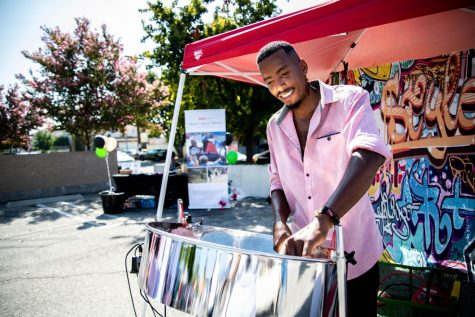 "Shoy Phillip plays the steel pan at the ""Black in The Valley Marketplace"" at  Reseda, Calif., on Saturday, Sept.19, 2020."