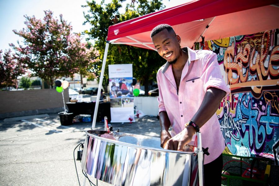 Shoy Phillip plays the steel pan at the