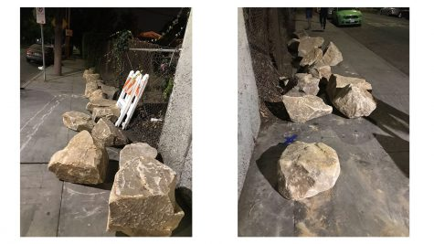 Two induvial images show the rocks that were used on the sidewalk to prevent homeless encampments from popping up in the Cattaraugus Tunnel.