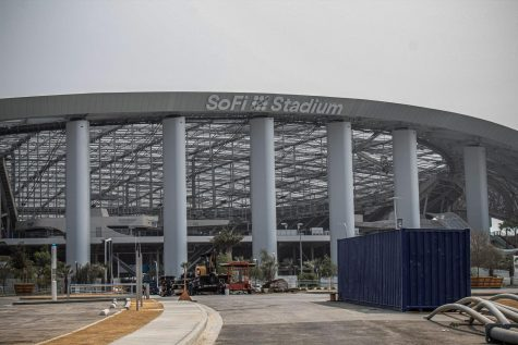 SoFi stadium under construction in Los Angeles, Calif., on Tuesday, Sept. 15, 2020. The stadium will host the 2028 Olympics' opening and closing ceremonies.
