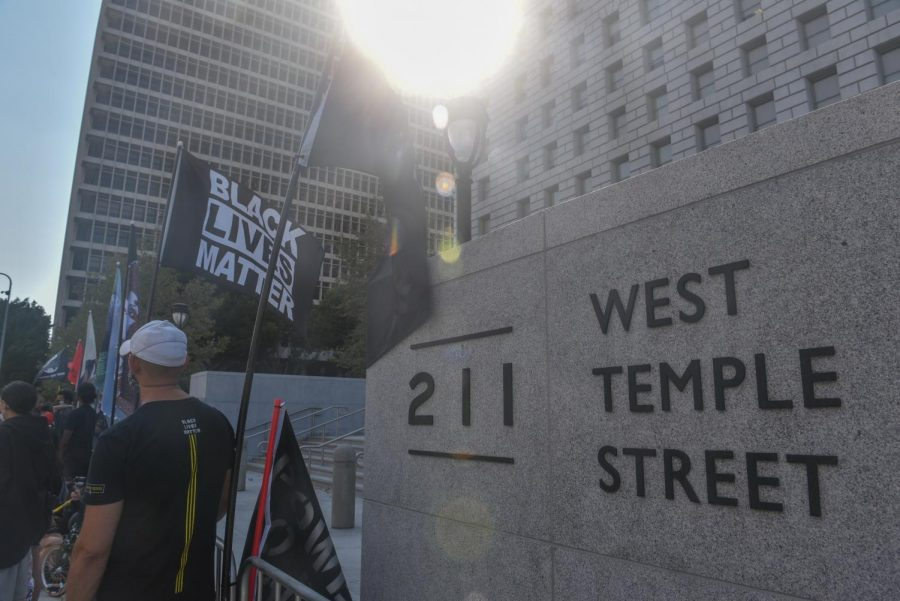 Black Lives Matter Los Angeles organizers and protesters gathered in front of the Hall of Justice in downtown Los Angeles, Calif. on Wednesday, Sept. 2, 2020.